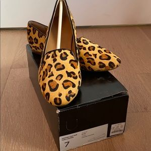 J. Crew calf hair Cora loafers in leopard